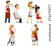 barber cuts my hair and puts... | Shutterstock .eps vector #576470977