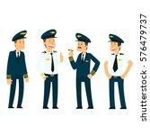 pilots in uniform. vector... | Shutterstock .eps vector #576479737