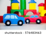 wooden blue and red cars | Shutterstock . vector #576483463