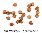 hazelnuts isolated on white... | Shutterstock . vector #576493687