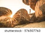young woman traveler enjoying... | Shutterstock . vector #576507763