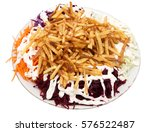 dish of fries with mayonnaise... | Shutterstock . vector #576522487