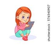 cute red haired girl sitting on ...   Shutterstock .eps vector #576540907