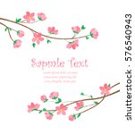 Stock vector vector decoration branches with flowers spring blossom sakura 576540943