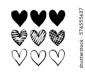 set of hand drawn hearts.... | Shutterstock .eps vector #576555637