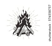 hand drawn campfire... | Shutterstock .eps vector #576558757