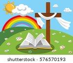easter background cross and... | Shutterstock .eps vector #576570193