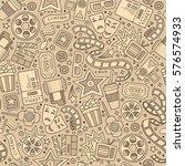 cartoon cute hand drawn cinema... | Shutterstock .eps vector #576574933