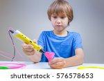 child using 3d printing pen.... | Shutterstock . vector #576578653