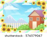 view of house  mountain  sky...   Shutterstock .eps vector #576579067