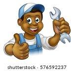a black handyman mechanic or... | Shutterstock .eps vector #576592237