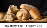 freshly baked bread loaves on... | Shutterstock . vector #576594973
