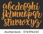 handwritten lettering font.... | Shutterstock .eps vector #576596143