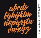 handwritten lettering font.... | Shutterstock .eps vector #576596173