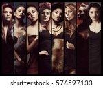 set of different women posing... | Shutterstock . vector #576597133