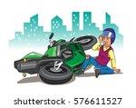 motorcycle accident   Shutterstock .eps vector #576611527