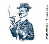 elegant gentleman in boater hat ... | Shutterstock .eps vector #576612817