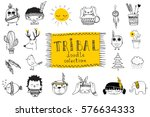 Stock vector vector set of cute isolated doodle tribal animals and other pictures for kid s interiors cards 576634333