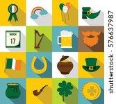 saint patrick icons set. flat... | Shutterstock . vector #576637987