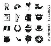 saint patrick icons set. simple ... | Shutterstock . vector #576638023