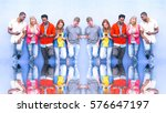 multicultural row of students... | Shutterstock . vector #576647197