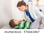 doctor with stethoscope and boy | Shutterstock . vector #576661867
