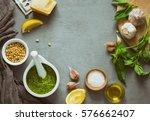 pesto ingredients background... | Shutterstock . vector #576662407