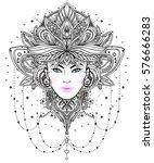 tribal fusion boho diva.... | Shutterstock .eps vector #576666283