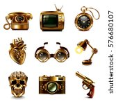 steampunk icons detailed photo... | Shutterstock .eps vector #576680107