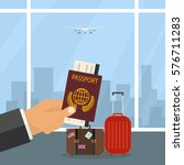 trip abroad  passport  travel ... | Shutterstock .eps vector #576711283