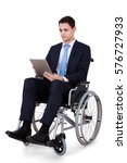 Handicapped Businessman Using...
