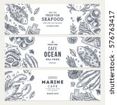 seafood banner template set.... | Shutterstock .eps vector #576763417