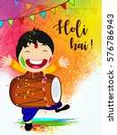 happy holi vector illustration... | Shutterstock .eps vector #576786943
