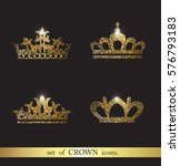 set of vector gold crown icons. | Shutterstock .eps vector #576793183
