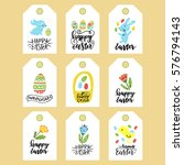 set of happy easter tags.hand... | Shutterstock .eps vector #576794143