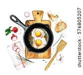 eggs in a frying pan....   Shutterstock . vector #576805207