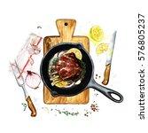 ribs in a frying pan.... | Shutterstock . vector #576805237