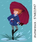 girl came in a puddle on rainy... | Shutterstock .eps vector #576821947