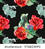 hand painting wild flowers and... | Shutterstock . vector #576823093