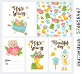 hello spring greeting card.... | Shutterstock .eps vector #576858967