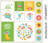 hello spring greeting card.... | Shutterstock .eps vector #576858997