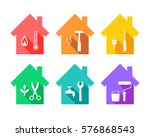 house with work tools as repair ... | Shutterstock .eps vector #576868543