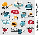set of stickers with text and... | Shutterstock .eps vector #576876037
