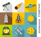space icons set. flat... | Shutterstock . vector #576887443
