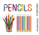 pencils  desk organizer  ding... | Shutterstock .eps vector #576893983
