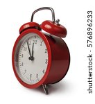 small red alarm clock isolated... | Shutterstock . vector #576896233