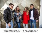 group of cheerful young friends ... | Shutterstock . vector #576900007