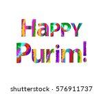 colorful inscription happy... | Shutterstock .eps vector #576911737