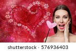 fashion woman with red heart.... | Shutterstock . vector #576936403