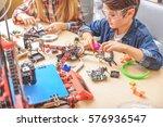 serious schoolchildren working... | Shutterstock . vector #576936547